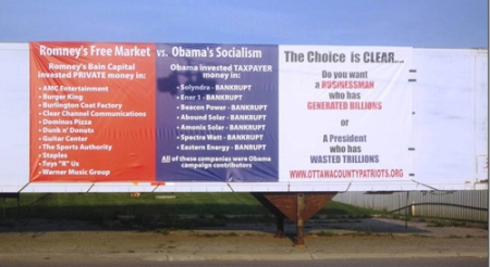 Romney versus Obama Economics Billboard